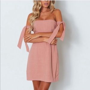 White Fox Boutique Off Shoulder Mini Dress Pink